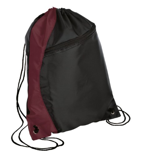 Port & Company luggage-and-bags Colorblock Cinch Pack OSFA Maroon/Black