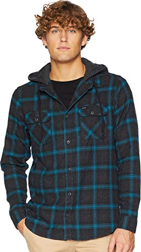 Flannel Good - RVCA Men's Good Hombre Long Sleeve Hooded Flannel Button Front Shirt, Charcoal Heather, XL