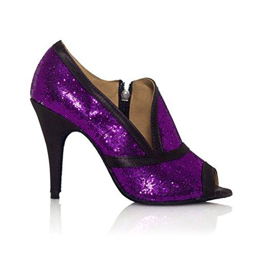 Heels 3 toe Open 9 BCLN Womens Sandals with Dance Tango Latin Heel Practice Salsa Shoes Ballroom OUqq0