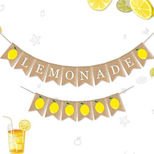 (Cieovo Jute Burlap Lemonade and Lemon Banner Summer Lemon Theme Baby Shower Gender Reveal Birthday Party Mantel Fireplace TV Stand)