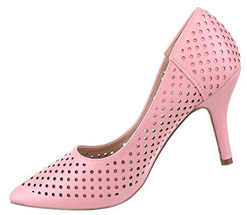 Frauen High Heels mit 9 cm Stiletto-Absatz in Schwarz und Größe 40 Perforierte Optik FYgTkbQp