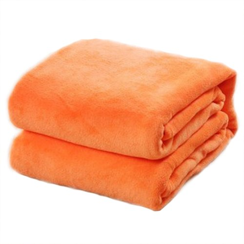 70*100cm Flannel Blanket - SODIAL(R)70*100cm Sofa/air/bedding Throw Solid Color and Double Faced Travel Flannel Blanket orange AEQW-WER-AW133871