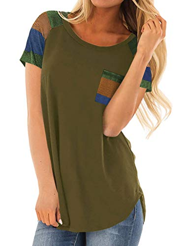 - Adibosy Women's Tops Short Sleeve Color Block Tshirts Summer Round Neck Tunics Blouses Comfy with Pocket Army Green S