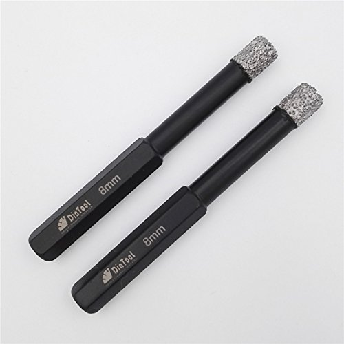SHDIATOOL 2pcs 8mm Dry Diamond Drill Bits with Hex Shank for Granite Marble Ceramic Tile Vacuum Brazed Hole Saws 5/16 Inch
