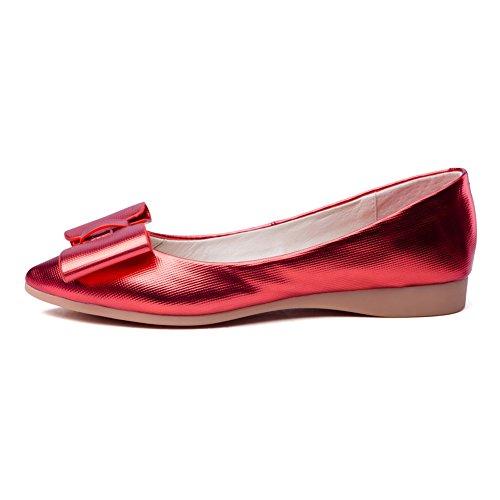 Balamasa Damer Spunnet Guld Bowknot Urringade Överdelar Färgmatchning Tjocka Botten Häl Mjuka Material Pumpar-shoes Röda