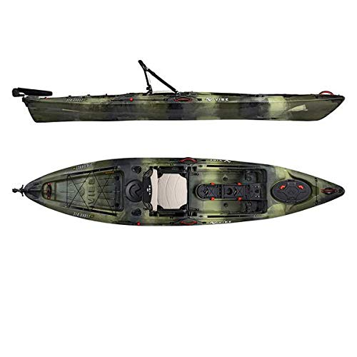 Vibe Kayaks Sea Ghost 130 13 Foot Angler Sit On Top Fishing Kayak with Adjustable Hero Comfort Seat and Transducer Port and Rod Holders and Storage and Rudder System Included