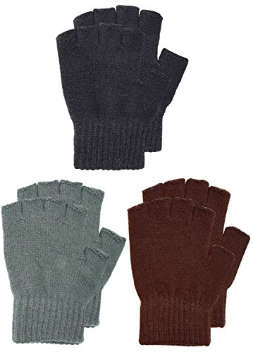 SUNNYTREE Kids Knit Fingerless Gloves Warm Cashmere Pack of 3 Pairs Black ()