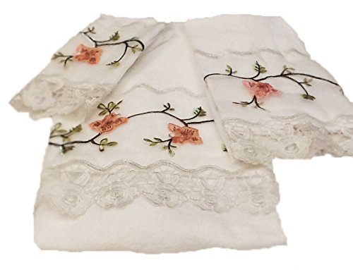 Editex Home Curtain 3 Piece Rose Garden Towel Bath Set, 24'' x 48''/16'' x 25''/12'' x 12'', White by Editex Home Curtain