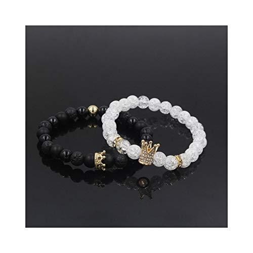 VBTY Beaded Stretch Bracelet, Stone Beads,New 2Pc/Sets Natural 8/6Mm Stone Beads Couple Bracelets for Women Micro Pave Charms Bracelet Men Jewelry Pulseras Mujer ZJ1730G Size L 19-20cm (Key Livestrong)