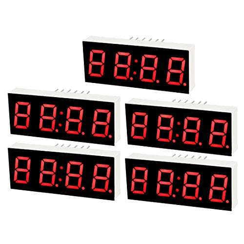 (uxcell Common Cathode 12 Pin 4 Bit 7 Segment 1.57 x 0.63 x 0.28 Inch 0.4 inches Red LED Display Digital Tube 5pcs )