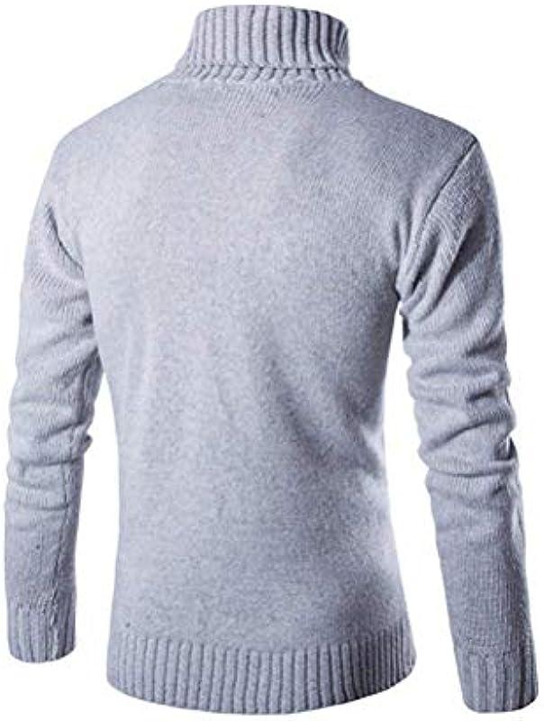 Saoye Fashion męski zwijany kołnierz sweter coole ciepła grubość bluza jesień ubranie zima długi rękaw sweter dziergany sweter męski: Odzież