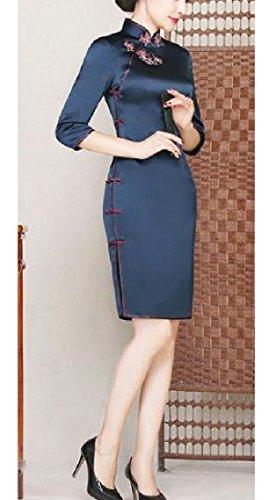 Partito Aderente Navy Blu Cheongsam Di Comodi Donne Vestito Retrò Premio Di Seta Business Vestito Da qWAx7wBX