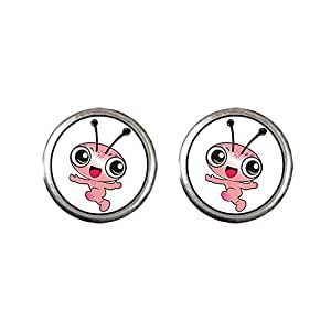 Chicforest Silver Plated Happy Lovely Ant Photo Stud Earrings 10mm Diameter