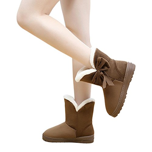 Bowknot Fit Comfort Caff on Boots Slip Winter Women Casual Warm Scarpe Deylaying Flats Snow wxqHX4nO