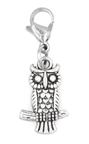 Owl on Branch Stainless Steel Clasp Clip on Charm SSCL 78F