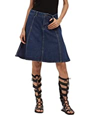 Innifer Women's Basic High Waist Plus Size A-Line Denim Short Skirt