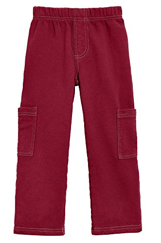 City Threads Big Boys Fleece Cargo Pocket Pants for School Playground and Outdoor Activities, Red, 7