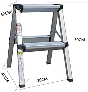 IMMEK Escalera de Tijera, Escalera Plegable del Hogar, Escalera de Mano, 2 Niveles en Ambos Lados, Capacidad 150 Kg, Aluminio: Amazon.es: Hogar