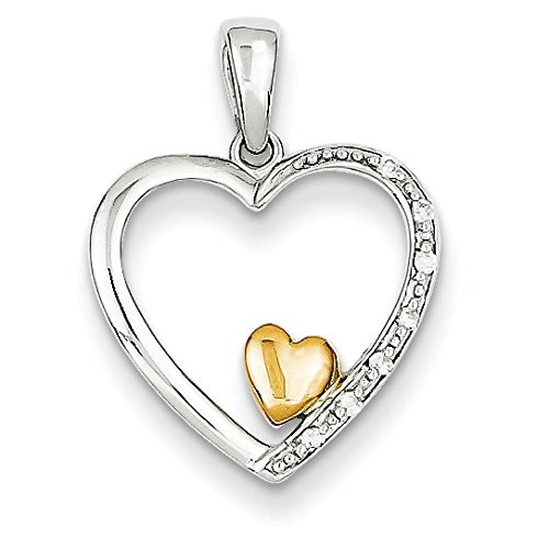 14 carats-Bicolore-Pendentif en forme de cœur avec diamants bruts JewelryWeb