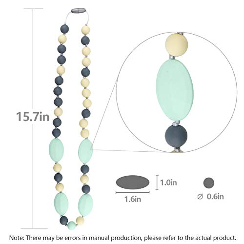 TUXEPOC Baby Teething Necklace for Mom to Wear,Silicone Nursing Chewable Beads Teether Toys - BPA Free (Less Color)