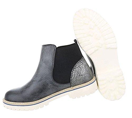 Auffallende Damen Boots   Stiefeletten Blockabsatz   Chelsea Boots Profilsohle   Knöchelhohe Stiefel Stretch   Schuhe Leder-Optik   Metallic Booties   Schuhcity24 Schwarz