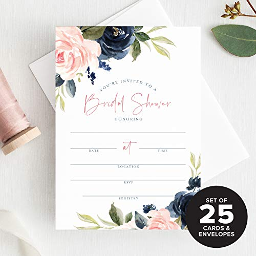 Bliss Collections Bridal Shower Invitations with Envelopes - Navy, Pink, Coral and Greenery Watercolor Floral Fill-in Style Invites, 25 Pack of 5x7 Cards