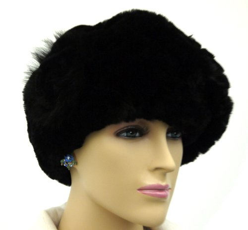 Ruffled Rex Rabbit Fur Winter Beret Hat with Flower - BLACK by Hima