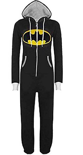 URAQT Unisex Batman Superman Print Hooded Zip Front All In One Piece Onesie Jumpsuit Black (Superman Adult Onesie)