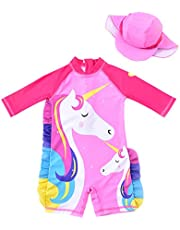 Baby Girl One Piece Swimsuit Sunsuit Long Sleeve Swimwear Rash Guard Toddler Kid Unicorn Bathing Suit Zip with Hat 1-7t