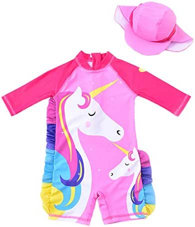 Baby Girl One Piece Swimsuit Sunsuit Long Sleeve Swimwear Rash Guard Toddler Kid Unicorn Bathing Suit Zip with Hat 1-7t