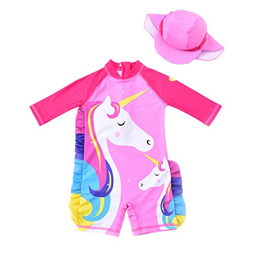 Baby Girl One Piece Swimsuit Sunsuit Long Sleeve Swimwear Rash Guard Toddler Kid Unicorn Bathing Suit Zip with Hat 1-6t (3-4 Years old/100) Pink