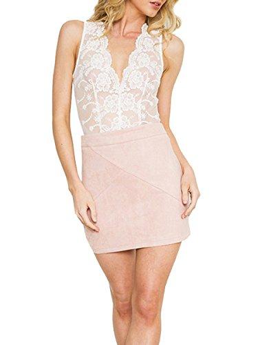 Suède Mini-jupe Courte Moulante De Rose Taille Haute Femmes Simplee Vêtements Faux