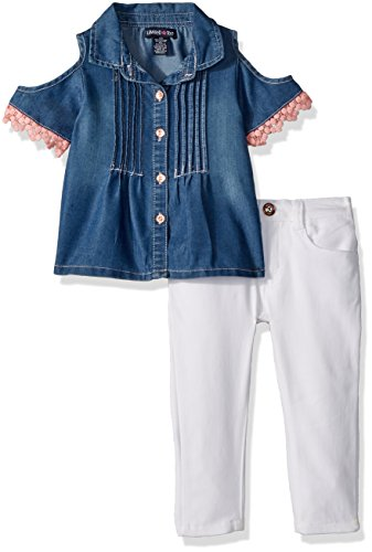 Limited Too Girls' Toddler Fashion Pant Set, Cold Shoulder Tencel Denim top Stretch Twill Capri White ()