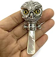 Victorian Style Owl head Baby Rattle with Glass Eyes and Mother of pearl Handle