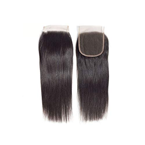 Hair Peruvian Straight Hair Closure 4x4 Swiss Lace Closure Remy Human Hair Lace Closures Free Middle Three Part,Natural Color,8inches,Free Part