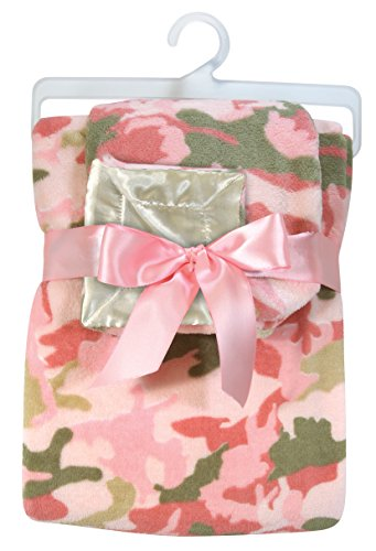Stephan Baby Super-Soft Fleece Crib and Security Blanket Set, Pink Camo Print
