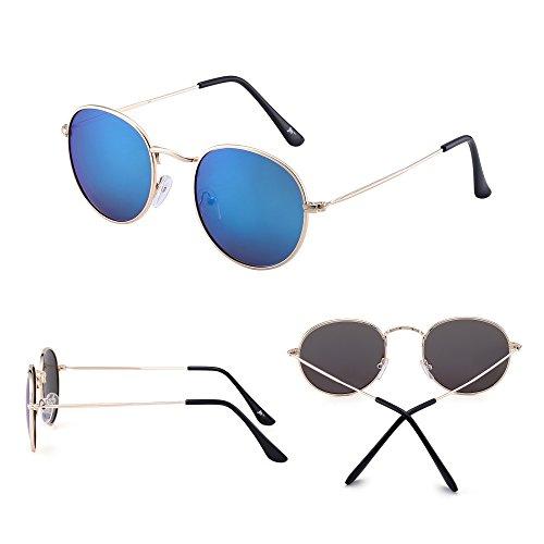 Jm Ronde Or Miroir Femmes Polarisé Polarisées De Lentille Cercle Lunettes Cadre Rétro Métal Soleil Hommes Petit bleu rrq54