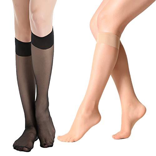 (MANZI 12 Pairs Lady's Sheer Knee High Stockings (6 Pairs Black,6 Pairs Natural))