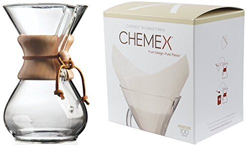 chemex-10-cup-classic-glass-coffee-maker-glass-cover-fs-100-bonded-pre-folded-squares-coffee-filters
