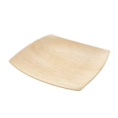 "CiboWares Premium 9.5"" Square Natural Areca Palm Leaf Plate, Eco-Friendly and Disposable for Home and Catering, Package of 25"