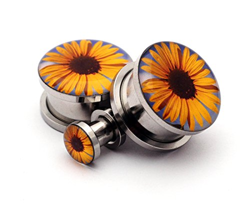 Screw on Plugs - Sunflower Picture Plugs - Sold As a Pair (10g (2.5mm)) - Body Plugs Jewelry 10g