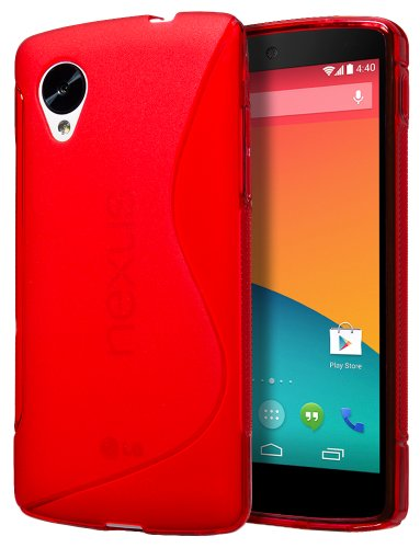 Cimo S-Line Back Case Flexible TPU Cover for LG Google Nexus 5 - Red