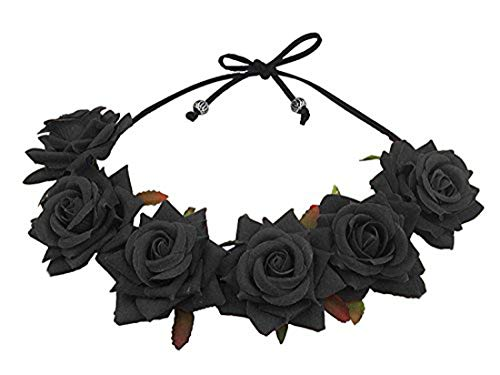 Halloween Dead Bride Hair (Floral Fall Rose Red Rose Flower Crown Woodland Hair Wreath Festival Headband F-67)