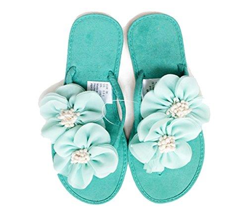 Chic-Mild Handmade Two Flowers Classic Green Comfortable Women Flat Flip Flops Sandals... (EUR 41/US 10.5, Green)