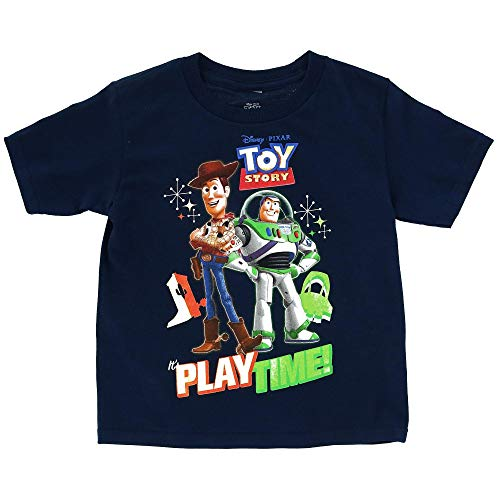 Disney Toy Story Boy's T-Shirt Buzz Lightyear and Woody Print Toddler (Navy, 2T)
