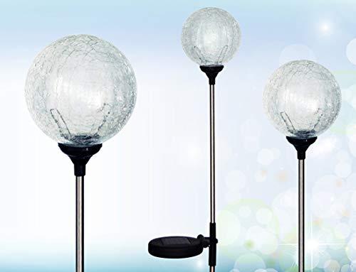 "Solaration Crackle Glass Globe Solar Lawn Light, 3.5"" Dia (3 Pack)"