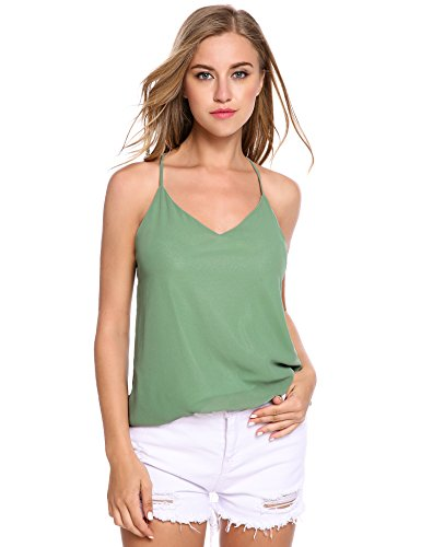 Zeagoo Women's Summer Cool V-Neck Chiffon Layered Backless Cami Tank Top (Medium, Pale green)