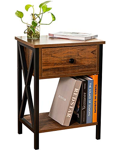 Aermoo Nightstands, Sofa End Table, Side Table with Drawer and Shelf for Bedroom, Living Room, Easy Assembly, Metal…