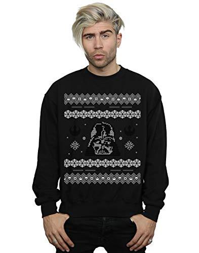 Star Wars Men's Christmas Darth Vader Fair Isle Sweatshirt Black Small (Isle Fair Jumper Xmas)