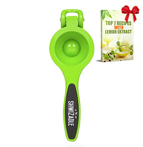 Lemon Squeezer, Professional Quality Lemon Juicer, Citrus Press :: Non-Slip Rubber Handles :: Larger Tray Extracts More Juice :: Superior Durability by Shwizadle :: Lifetime Peace-of-Mind (Green) (Soft Works Citrus Juicer compare prices)